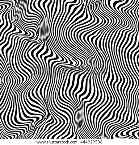 Wavy striped black and white vector background. Abstract monochrome pattern. Zebra effect.