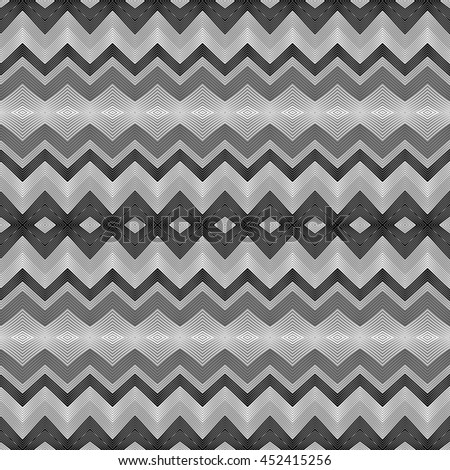 Wavy stripes vector abstract background. Vector seamless black and white monochrome chevron waves pattern. - stock vector