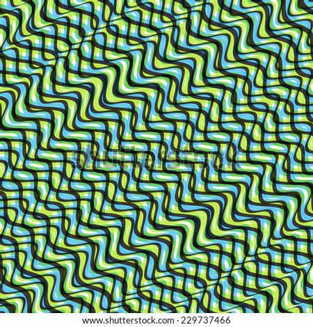 Wavy volume background. Pattern with optical illusion. 3d vector illustration.  - stock vector