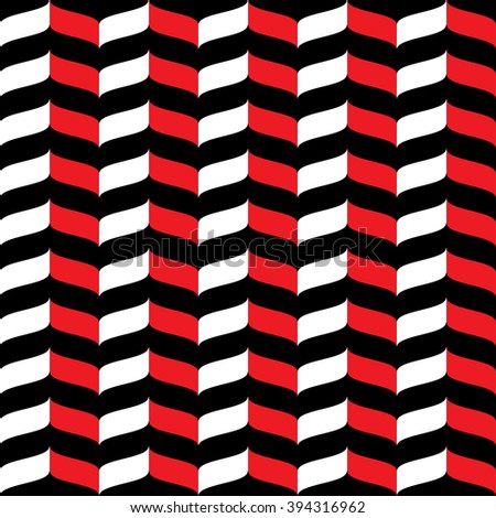 Wavy zig zag seamless pattern. White, red and black background. Abstract geometric waves texture. 3d effect. Design template graphic for wallpaper, wrapping, fabric, textile, etc. Vector Illustration. - stock vector