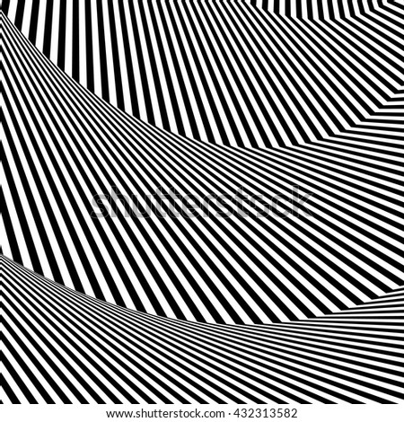 Wavy, zigzag lines, lines with distortion, crease. Monochrome pattern - stock vector