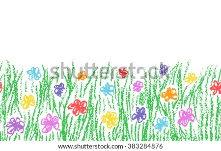 Wax crayon hand drawn green grass with color flower isolated on white. Seamless kid`s drawn background banner. Vector pastel chalk copy space design element. - stock vector