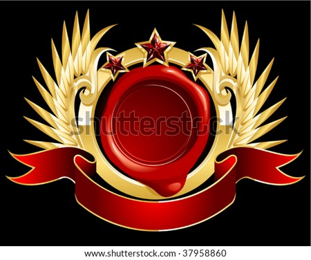 Wax Letter Seal with Flying Badge - stock vector