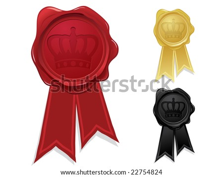 Wax seal with crown stamp - stock vector