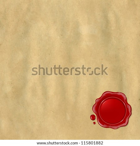 Wax Seal With Old Paper, Vector Illustration - stock vector