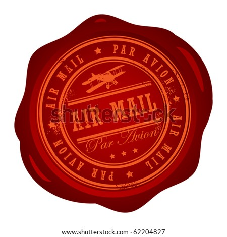 Wax seal with small stars and the word Air Mail inside, vector illustration - stock vector