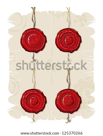 Wax seals with emblems, 4, vector - stock vector