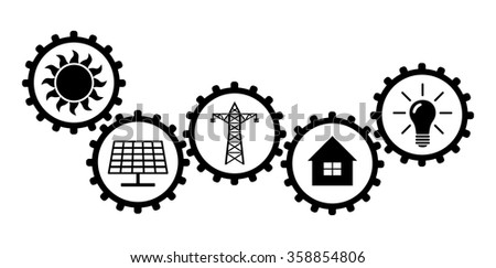 Way of wind energy to our homes. Gears representing way of nature power to electric wires. - stock vector