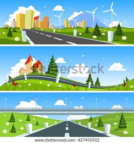 Way through nature banner. Vector - stock vector