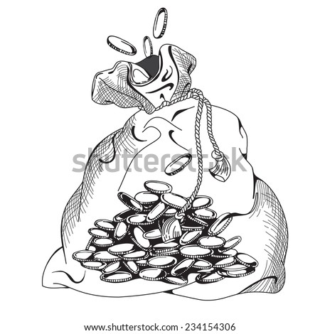 Way to money. How to make a million. How to earn. Bag and Golden Manet. Vector Illustration and Poster. Editable business design. Money vector. Eps 8 - stock vector