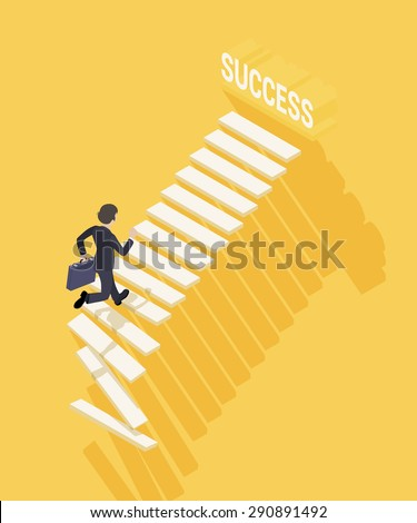 Way to success in business. Businessman with the briefcase climbing the stairs to success. Conceptual illustration suitable for advertising and promotion - stock vector