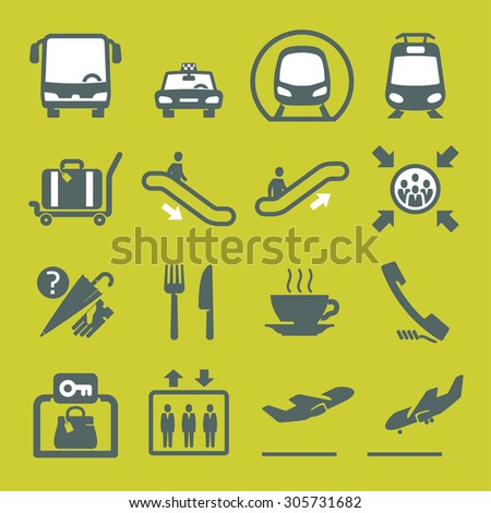 Wayfinding icons set // pictograms - stock vector