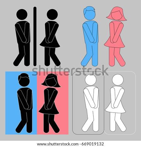 Bathroom Sign Boy Girl wc sign vector funny boy girl stock vector 596096444 - shutterstock