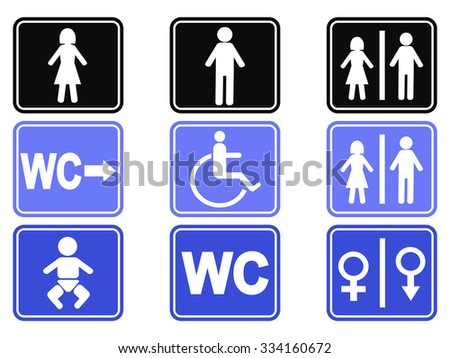 wc button icons set - stock vector
