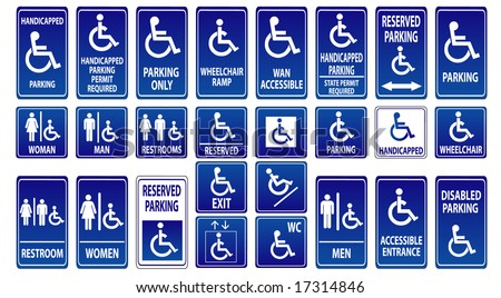 wc/disabled/handicapped sign vector pack - BLUE VERSION (26 different icons) - stock vector