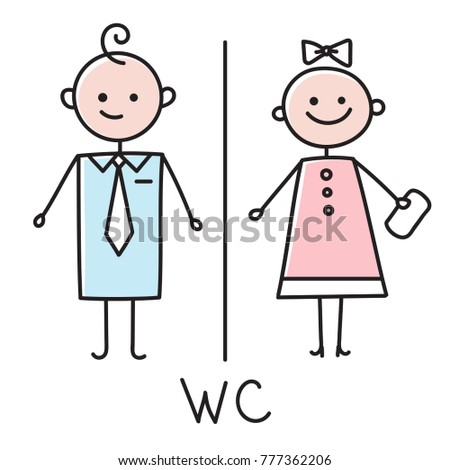 Wc iconvector art wc icon eps stock vector 393387934 shutterstock for Boy and girl bathroom door signs