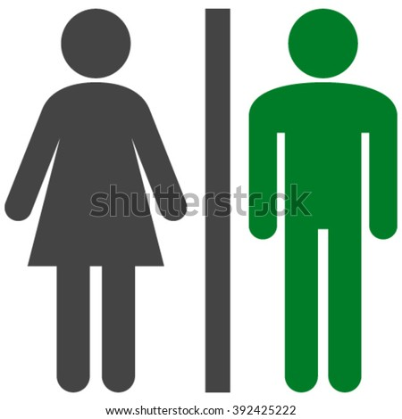 WC Persons vector icon. WC Persons icon symbol. WC Persons icon image. WC Persons icon picture. WC Persons pictogram. Flat green and gray WC persons icon. Isolated WC persons icon graphic. - stock vector