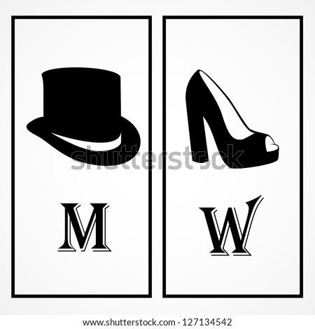 WC Shoes And Hat Black Sign Isolated On White Background - Vector Illustration, Graphic Design Editable For Your Design - stock vector