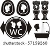 WC sign toilet icon black - stock