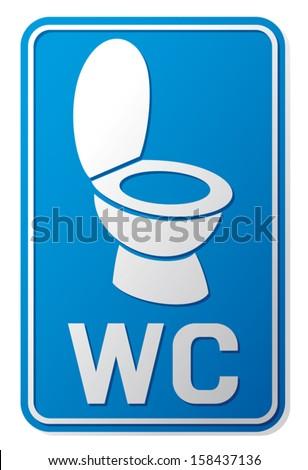 wc sign (wc icon, toilet sign, toilet symbol, toilet bowl icon)  - stock vector