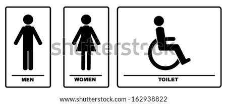WC Signs Black Illustration Vector Silhouettes  - stock vector