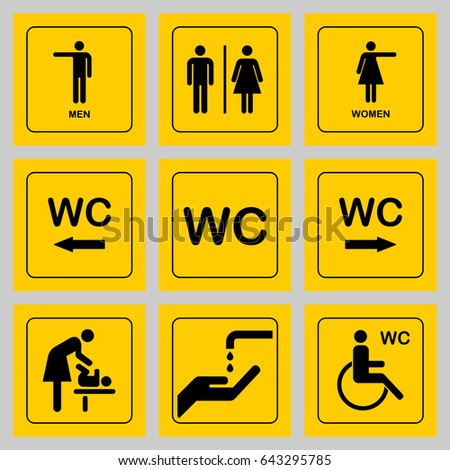 wc toilet door plate icons set stock vector royalty free 643295785