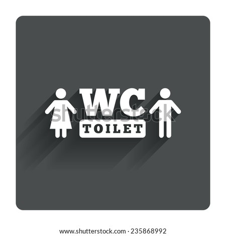 WC Toilet sign icon. Restroom or lavatory symbol. Gray flat square button with shadow. Modern UI website navigation. Vector