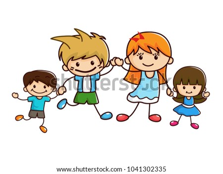 we are family, colorful cartoon of family