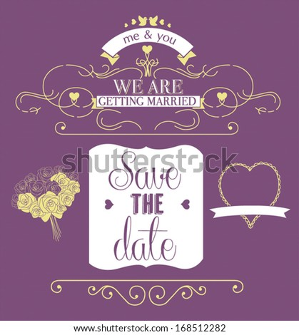 We Are Getting Married Wedding Invitation Card - stock vector