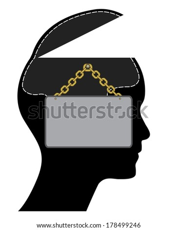 We are open concept vector design with open head and brain. - stock vector