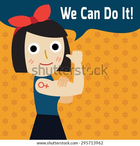 We can do it. Modern design inspired by classic american poster. Cartoon woman with can do attitude. Symbol of female power and industry. - stock vector