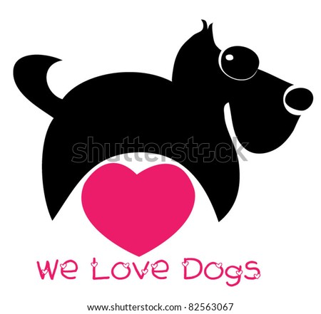 we love dogs - stock vector