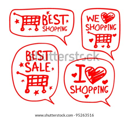 We love shopping hand drawn illustration with speech bubbles. - stock vector
