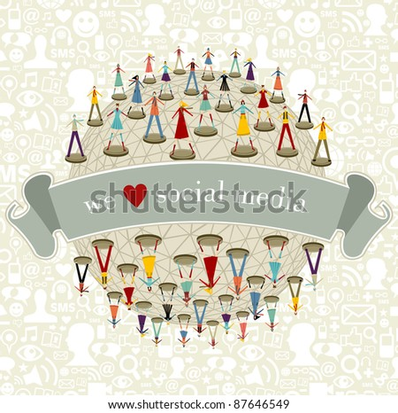 We love social media network connection concept with social icons pattern background - stock vector