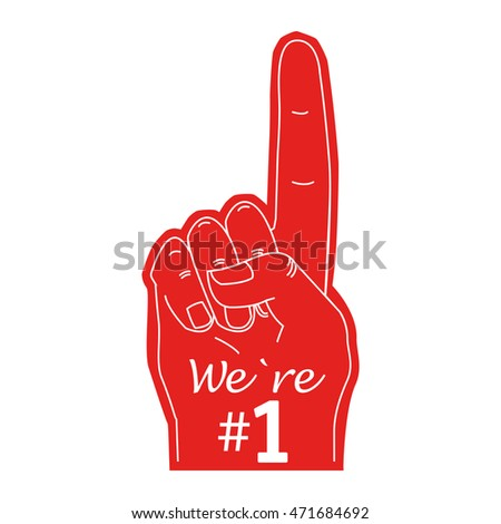 we`re one, Fan hand glove with foam finger raised flat vector icon Illustration