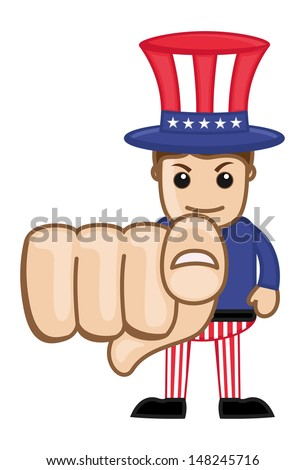 We Want You - Uncle Sam - Business Cartoon Characters - stock vector