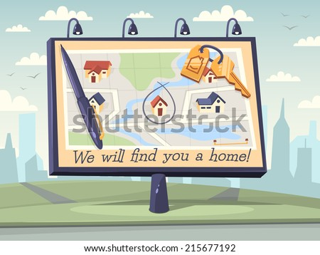 We will find you a home. Vector illustration. - stock vector