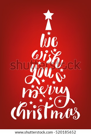 We wish you a merry christmas hand-lettering text on red background. Handmade vector calligraphy collection