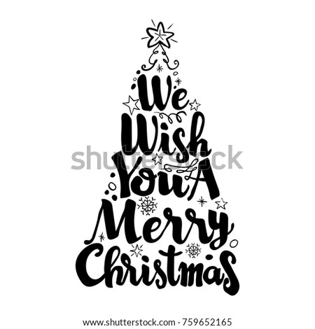 We Wish You A Merry Christmas Isolate On White Background Lettering Vector Illustration
