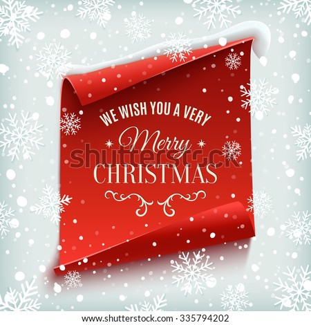 We wish you a Very Merry Christmas, greeting card. Red, curved, paper banner on winter background with snow and snowflakes. Vector illustration. - stock vector