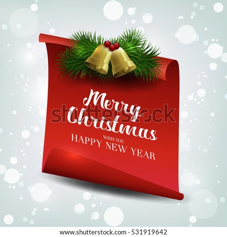 We wish you a Very Merry Christmas, greeting card. Red, curved, paper banner on winter background with snow and snowflakes