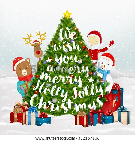 We Wish You A Very Merry Holly Jolly Christmas Typographical Background With Santa Claus, Snowman, Deer, Bear And With Many Christmas Elements - stock vector