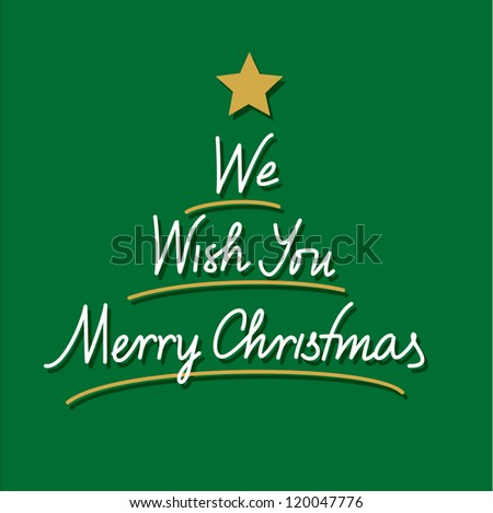 we wish you merry christmas hand lettering - stock vector