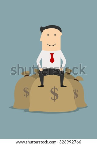 Wealthy successful cartoon businessman sitting on top of a pile of dollar money bags, for business concept - stock vector