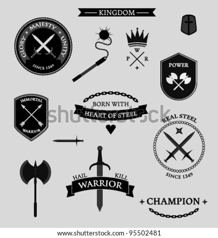 Weapon badges and labels - stock vector