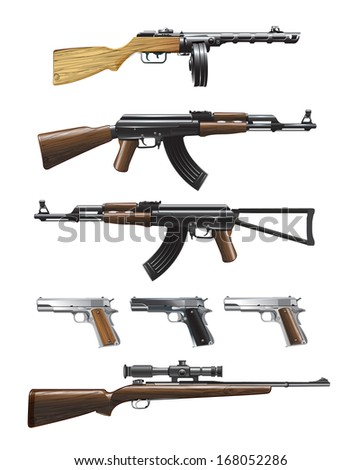 Weapon collection - stock vector