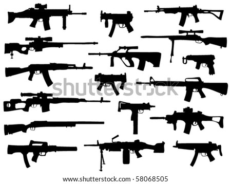 Weapon collection, automatic guns - stock vector