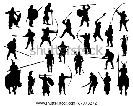 weapon collection, medieval warriors - stock vector