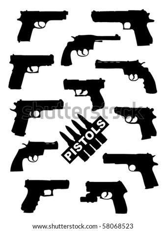 Weapon collection, pistols - stock vector