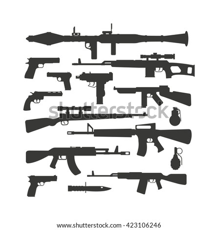 Weapon collection vector.  - stock vector